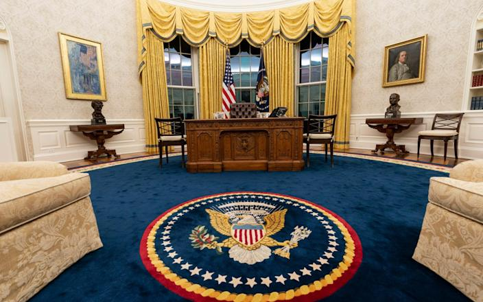 The Resolute desk in the Oval Office - Alex Brandon/AP