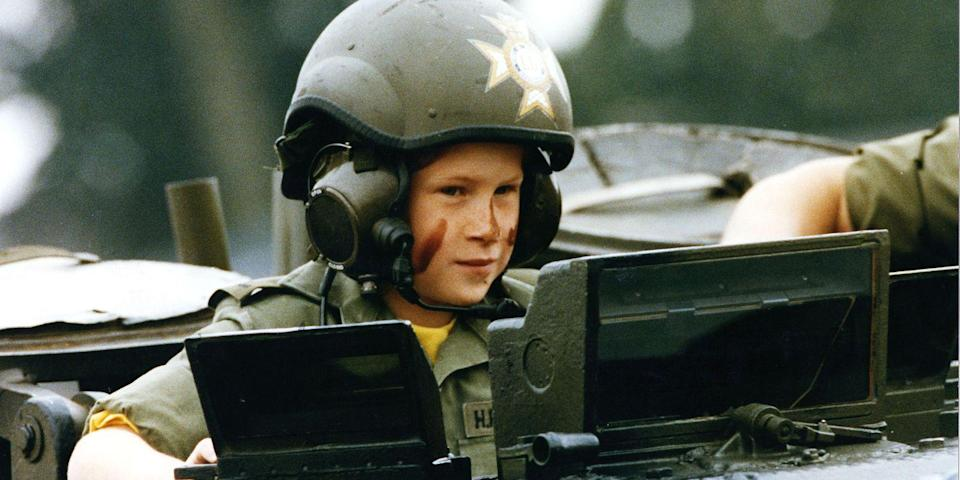 <p>Harry rides in a tank during a visit to a British regiment in Germany.</p>