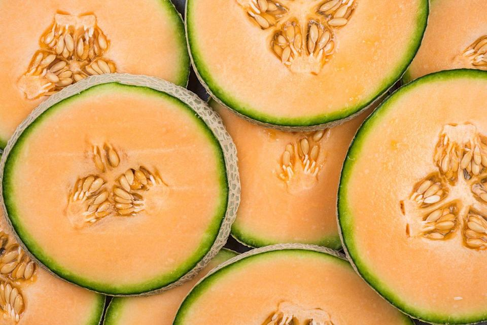 """<p>Cantaloupe is high in potassium, <a href=""""https://www.goodhousekeeping.com/health/diet-nutrition/g35351259/vitamin-c-foods/"""" rel=""""nofollow noopener"""" target=""""_blank"""" data-ylk=""""slk:vitamin C"""" class=""""link rapid-noclick-resp"""">vitamin C</a> and folate. The flavonoids found in melon have anti-inflammatory, blood sugar-stabilizing, and immune-boosting properties. Plus, water-filled cantaloupe offers a <a href=""""https://www.goodhousekeeping.com/health/diet-nutrition/a46956/how-much-water-should-i-drink/"""" rel=""""nofollow noopener"""" target=""""_blank"""" data-ylk=""""slk:hydration"""" class=""""link rapid-noclick-resp"""">hydration</a> boost. You can make a cool <a href=""""https://www.goodhousekeeping.com/food-recipes/a27530675/cucumber-and-cantaloupe-salad-with-savory-quinoa-granola-recipe/"""" rel=""""nofollow noopener"""" target=""""_blank"""" data-ylk=""""slk:salad"""" class=""""link rapid-noclick-resp"""">salad</a> with cantaloupe and cucumber, with granola sprinkled on top for a bit of crunch!</p>"""