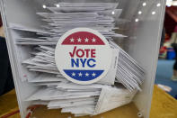 Absentee ballots are seen in a locked box during early voting at the Park Slope Armory YMCA, Tuesday, Oct. 27, 2020, in the Brooklyn borough of New York. (AP Photo/Mary Altaffer)