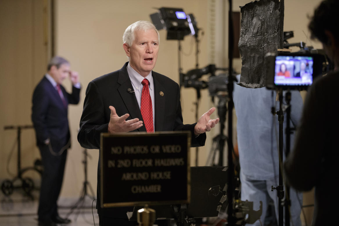 Rep. Mo Brooks, R-Ala., a member of the conservative Freedom Caucus responds during a TV interview on Capitol Hill in Washington, Thursday, March 23, 2017, as recalcitrant GOP lawmakers are being urged by House Speaker Paul Ryan to support the Republican health care bill when it goes to the floor for debate and a vote. (AP Photo/J. Scott Applewhite)