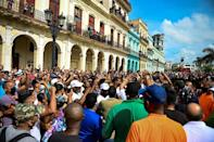 People take part in a demonstration against the government of Cuban President Miguel Diaz-Canel in Havana, on July 11, 2021