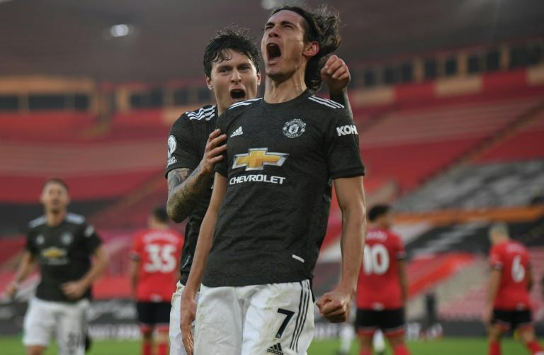Clinical: Edinson Cavani (centre) came off the bench to score twice for Manchester United at Southampton
