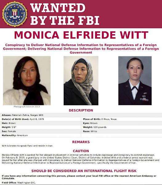 An FBI wanted poster for Monica Witt, a former US Air Force counterintelligence officer who, according to a new indictment, defected to Iran and revealed top secret US intelligence operations to the Iranians (AFP Photo/HO)