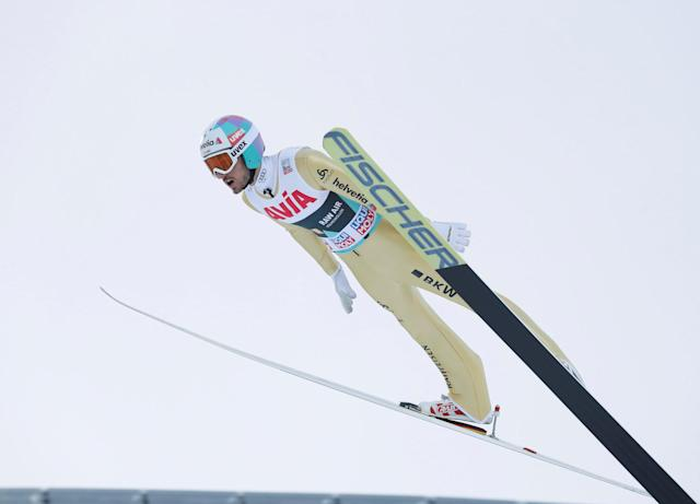 FIS Ski Jumping World Cup - Men's HS134 - Oslo, Norway - March 10, 2018. Killian Peier of Switzerland competes. NTB Scanpix/Terje Bendiksby via REUTERS ATTENTION EDITORS - THIS IMAGE WAS PROVIDED BY A THIRD PARTY. NORWAY OUT. NO COMMERCIAL OR EDITORIAL SALES IN NORWAY.