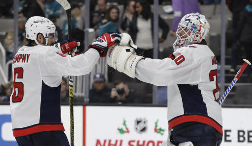Washington Capitals goalie Braden Holtby, right, and teammate Michal Kempny (6) celebrate the team's 5-2 win over the San Jose Sharks in an NHL hockey game Tuesday, Dec. 3, 2019, in San Jose, Calif. (AP Photo/Ben Margot)