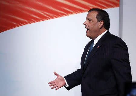 """New Jersey Gov. Christie walks in before speaking at the second day of the 5th annual Faith & Freedom Coalition's """"Road to Majority"""" Policy Conference in Washington"""
