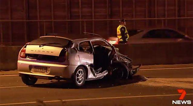 The car (not pictured) crash head-on into another car on a southeast Queensland motorway. Source: 7 News