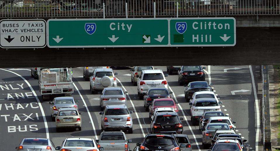 Traffic congestion is seen at the Hoddle Street exit of the Eastern Freeway in Melbourne, Monday, April 28, 2014.