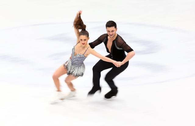 Figure Skating - World Figure Skating Championships - The Mediolanum Forum, Milan, Italy - March 23, 2018 Britain's Lilah Fear and Lewis Gibson during the Ice Dance Short Dance program REUTERS/Alessandro Bianchi