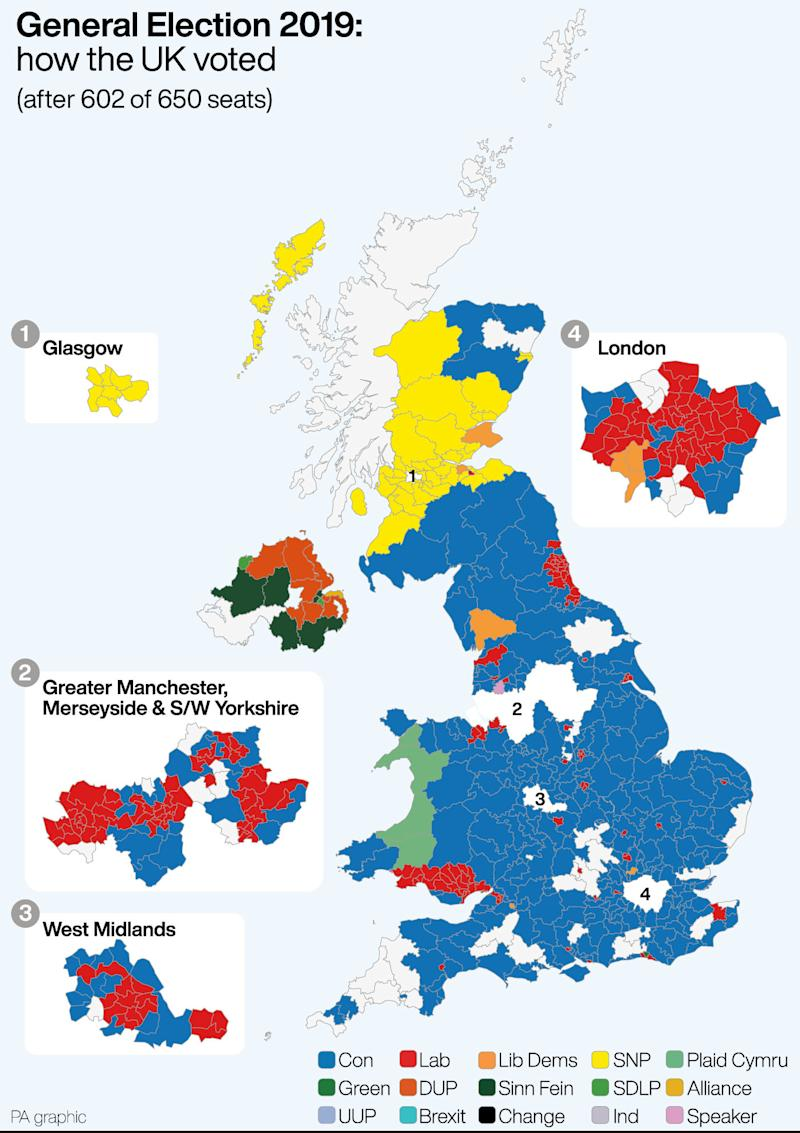 General Election 2019 how the UK voted after 602 0f 650 seats. See story POLITICS Election. Infographic PA Graphics