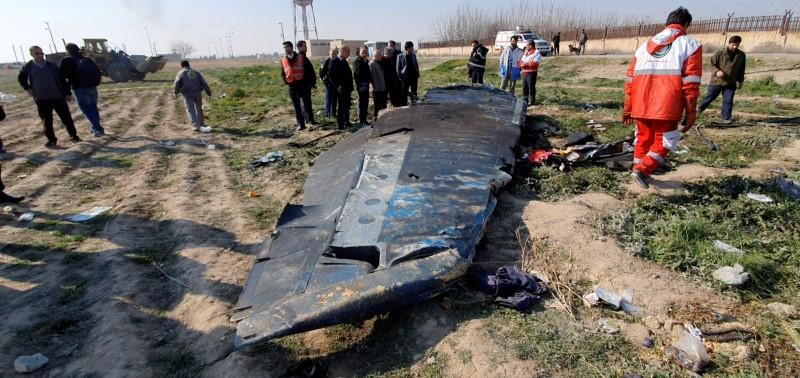 FILE PHOTO: General view of the debris of the Ukraine International Airlines plane shot down over Iran on Jan. 8