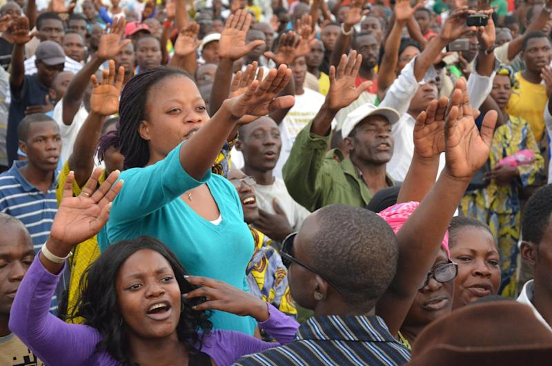 Supporters of Gabon opposition parties including the dissolved National Union rally in Libreville in 2012