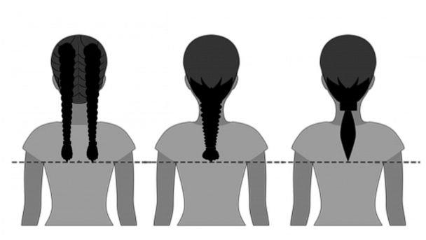 PHOTO: This U.S. Air Force graphic shows the allowed length for ponytails and braids. (U.S. Air Force graphic by Corey Parrish)