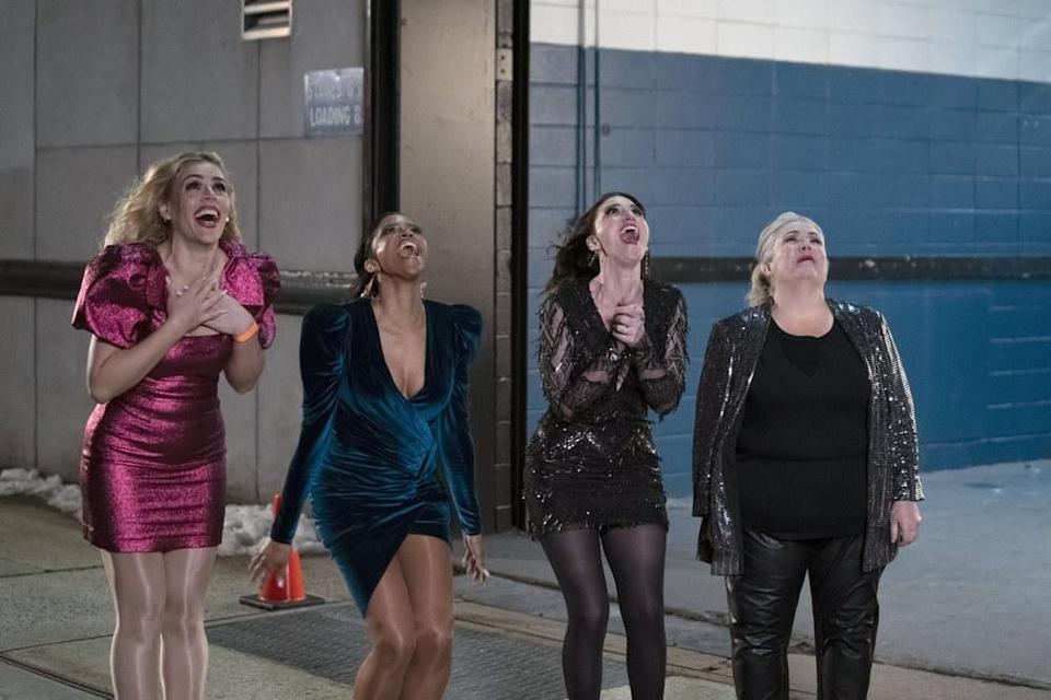 Busy Philipps, Renée Elise Goldsberry, Sara Bareilles, and Paula Pell look up into the sky and scream