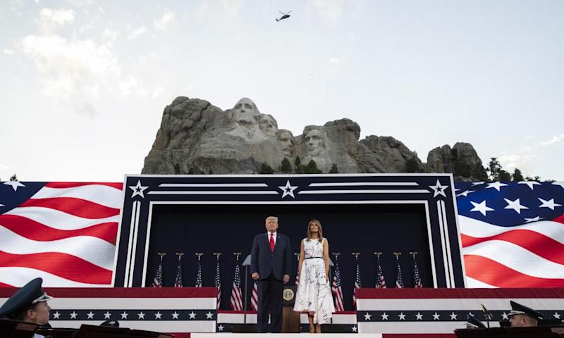 Donald Trump, accompanied by first lady Melania Trump, at Mount Rushmore.