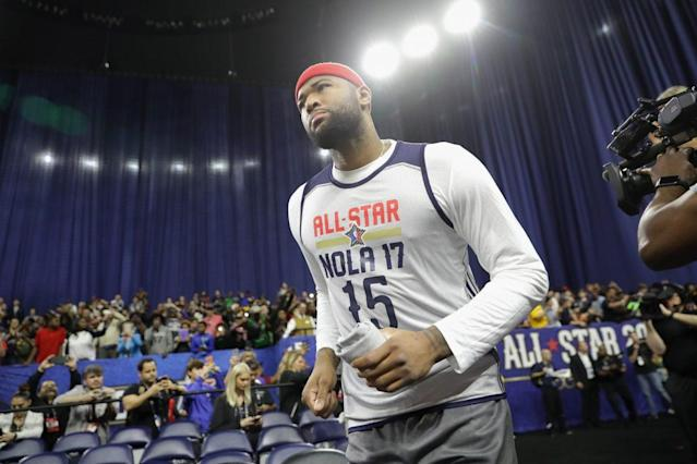 """This won't be the last time <a class=""""link rapid-noclick-resp"""" href=""""/nba/players/4720/"""" data-ylk=""""slk:DeMarcus Cousins"""">DeMarcus Cousins</a> wears a NOLA jersey. (Getty Images)"""
