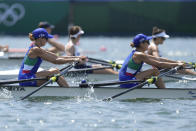 Valentina Rodini and Federica Cesarini of Italy compete in the lightweight women's rowing double sculls final at the 2020 Summer Olympics, Thursday, July 29, 2021, in Tokyo, Japan. (AP Photo/Lee Jin-man)