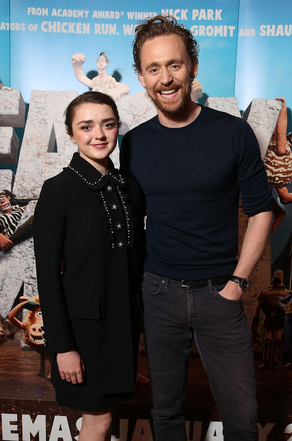 Maisie Williams and Tom Hiddleston, who play Goona and Lord Nooth, at the 'Early Man' preview photocall (Studiocanal)