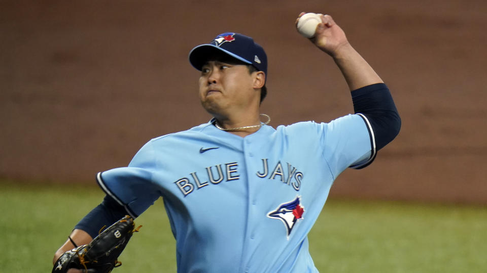 Toronto Blue Jays starting pitcher Hyun-Jin Ryu during the first inning of Game 2 of an American League wild-card baseball series against the Tampa Bay Rays Wednesday, Sept. 30, 2020, in St. Petersburg, Fla. (AP Photo/Chris O'Meara)