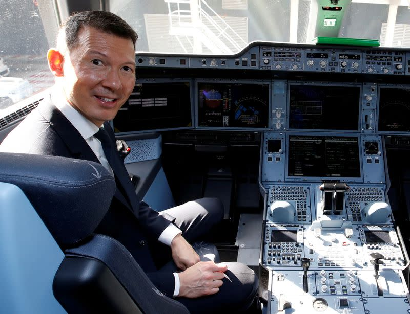 FILE PHOTO: Benjamin Smith, CEO of Air France-KLM, poses inside Air France's first Airbus A350