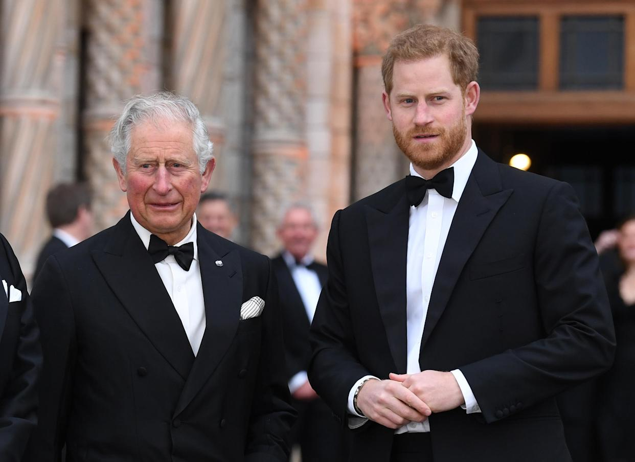 Prince Charles and Prince Harry attending the World Premiere of Our Planet at the Natural History Museum, London. Photo dated 4th April, 2019. Copyright should read: Doug Peters/EMPICS