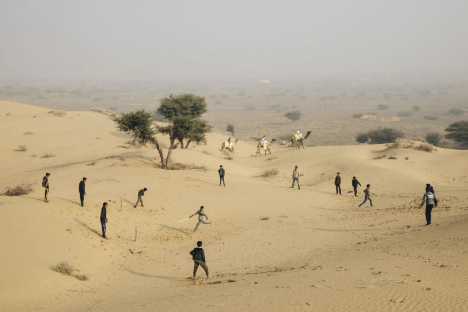 Steve Waugh's winning image for the Wisden Photo of the Year, which captured Indian youths playing cricket in the desert town of Osian. Picture: Steve Waugh/The Spirit of Cricket - India/AFP