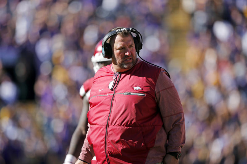 Arkansas head coach Bret Bielema walks on the sideline in the second half of an NCAA college football game against LSU in Baton Rouge, La., Saturday, Nov. 11, 2017. LSU won 33-10. (AP Photo/Gerald Herbert)