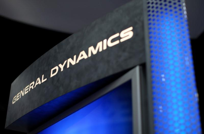 A General Dynamics sign is shown at the International Association of Chiefs of Police conference in San Diego, California