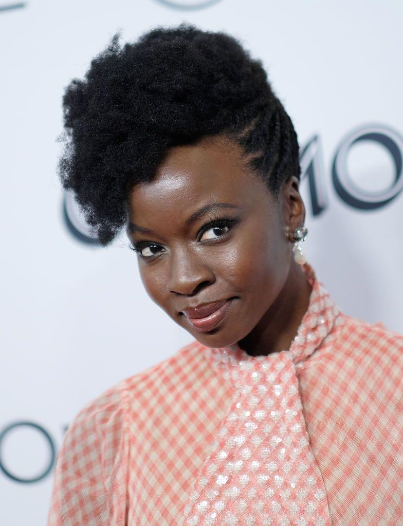 <p><strong>Danai Gurira</strong> did an updo with a literal twist! Side twists add a modern elegance to your updo with short hair. </p>