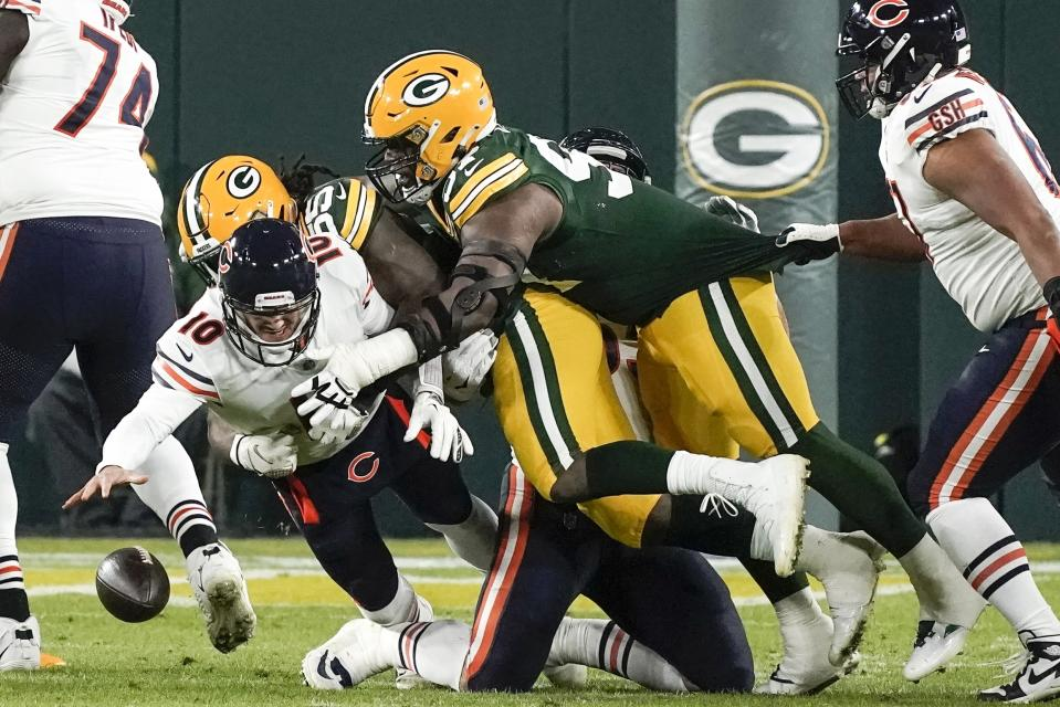 Chicago Bears' Mitchell Trubisky fumbles the ball during the first half against the Packers. (AP Photo/Morry Gash)
