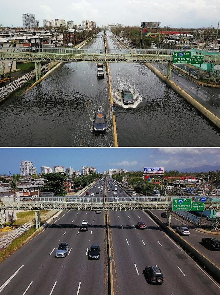 A flooded highway in San Juan, Puerto Rico on September 21, 2017, in the immediate aftermath of Hurrican Maria (above), and six months after the passing of the storm (below), which reseachers now blame for the deaths of 4,600 people -- more than 70 times higher than the official toll given by the US government (AFP Photo/RICARDO ARDUENGO)