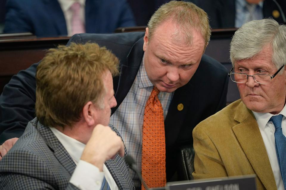 State Rep. Jason Nemes (center) and the GOP insist that their efforts to limit the powers of Gov. Andy Beshear — the only Democrat to hold statewide office in Kentucky — are not politically motivated, even as Beshear has repeatedly accused his Republican counterparts of politicizing COVID-19 restrictions. (Photo: AP Photo/Bryan Woolston))
