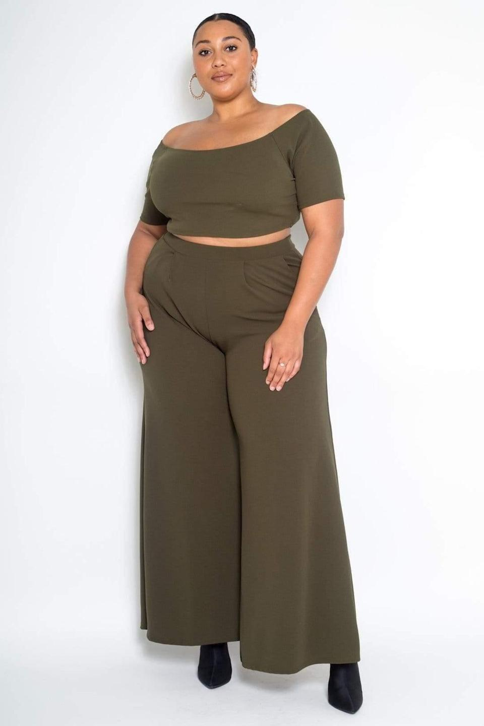 "<br> <br> <strong>Buxom Couture</strong> Crop Top and Wide Leg Pant Set, $, available at <a href=""https://go.skimresources.com/?id=30283X879131&url=https%3A%2F%2Fcoedition.com%2Fproducts%2F3867899035763"" rel=""nofollow noopener"" target=""_blank"" data-ylk=""slk:CoEdition"" class=""link rapid-noclick-resp"">CoEdition</a>"