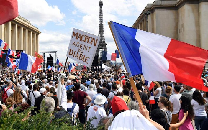 Protesters hold flags and placards during a protest against the compulsory vaccination for certain workers and the mandatory use of the health pass called by the French government - ALAIN JOCARD/AFP