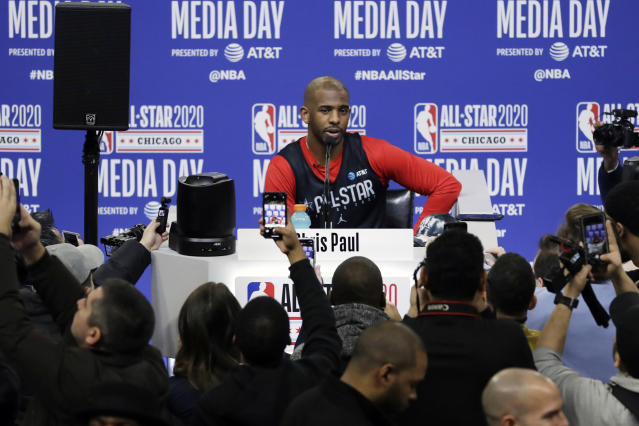 FILE - In this Feb. 15, 2020, file photo, Chris Paul, of the Oklahoma City Thunder, speaks during NBA All-Star basketball media day in Chicago. The NBA and the National Basketball Players Association said Wednesday, June 24, 2020, that dealing with racial matters will be a shared goal during the resumed season. The issues of systemic racism and police brutality in our country need to end, union president Chris Paul said. (AP Photo/Nam Y. Huh, File)