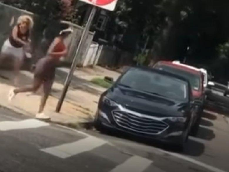 Lorena Delaguna, 53, was caught on camera by a bystander during the incident on 17 August against Tiffany Johnson (New York Police Department)