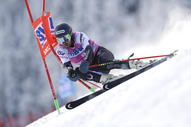 Ted Ligety, of the United States, competes during a ski World Cup men's Giant Slalom in Adelboden, Switzerland, Saturday, Jan.12, 2019. (AP Photo/Shinichiro Tanaka)