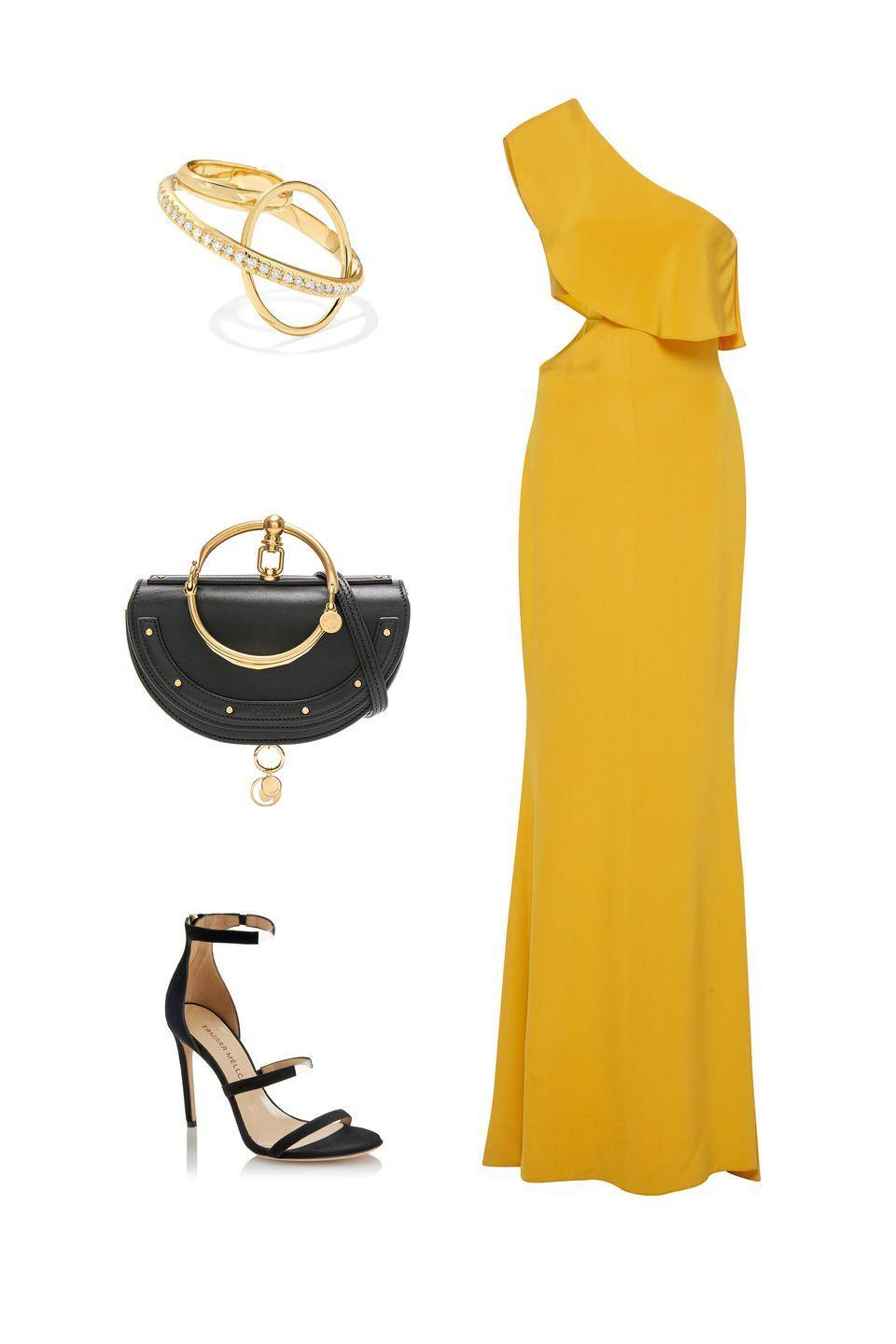 """<p>Tap into this fall season's trendiest hue–and accessorize it with your favorite: jet black–for a color palette that feels both in-season and effortlessly forward-thinking.</p><p><em><strong>Cushnie et Och</strong> dress, $1,995, <a rel=""""nofollow noopener"""" href=""""https://www.modaoperandi.com/cushnie-et-ochs-pf18/bea-ruffled-one-shoulder-silk-crepe-gown"""" target=""""_blank"""" data-ylk=""""slk:modaoperandi.com"""" class=""""link rapid-noclick-resp"""">modaoperandi.com</a>; <strong>Tamara Mellon </strong>heels, $395, <a rel=""""nofollow noopener"""" href=""""https://www.tamaramellon.com/collections/sandals/products/reverse-frontline-105mm-suede-pvc?variant=42715762325&utm_source=affiliate&utm_medium=Linkshare&utm_campaign=affl&affiliate_id=TnL5HPStwNw&siteID=TnL5HPStwNw-PdRkV04ZiAJCnJOdYV2Xaw&utm_source=linkshare&utm_medium=affiliate&utm_term=10&utm_content=1&utm_campaign=Skimlinks.com"""" target=""""_blank"""" data-ylk=""""slk:tamaramellon.com"""" class=""""link rapid-noclick-resp"""">tamaramellon.com</a>; <strong>Chloé </strong>minaudiere, $1,490, <a rel=""""nofollow noopener"""" href=""""https://www.fwrd.com/product-chloe-small-nile-leather-minaudiere-in-black/CLOE-WY328/?d=Womens&itrownum=7&itcurrpage=1&itview=01"""" target=""""_blank"""" data-ylk=""""slk:frwd.com"""" class=""""link rapid-noclick-resp"""">frwd.com</a>;<strong> Gaelle Khouri</strong> diamond ring, $3,050, <a rel=""""nofollow noopener"""" href=""""https://www.net-a-porter.com/us/en/product/1076832/gaelle_khouri/dianoia-18-karat-gold-diamond-ring?cm_mmc=LinkshareUS-_-6Km1lFswsiY-_-Custom-_-LinkBuilder&siteID=6Km1lFswsiY-jcRAjaTIUO106dHNoqA0Xg&ShopBAZAAR=ShopBAZAAR"""" target=""""_blank"""" data-ylk=""""slk:shopBAZAAR.com"""" class=""""link rapid-noclick-resp"""">shopBAZAAR.com</a>.</em></p>"""