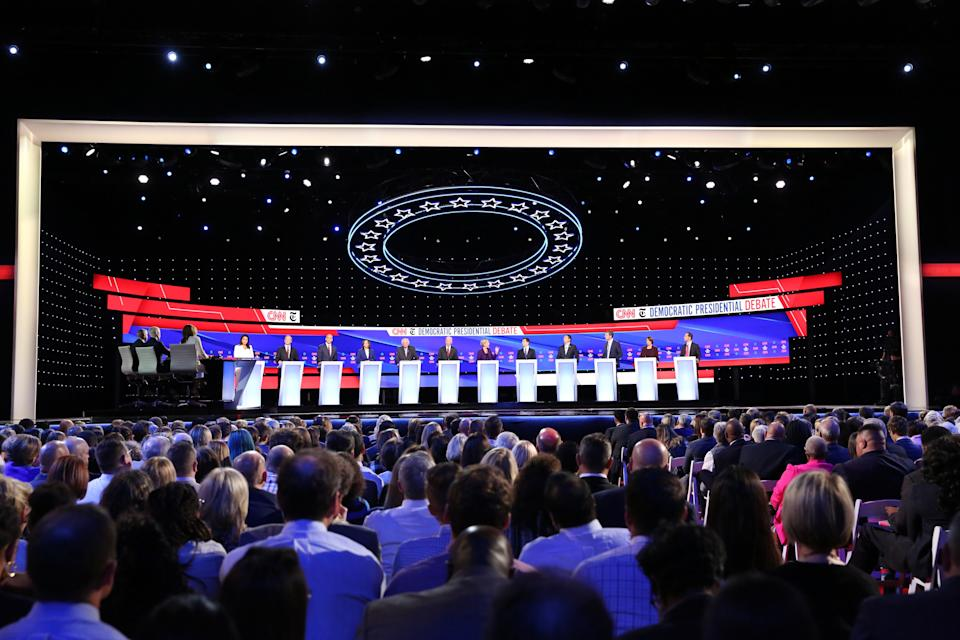Twelve Democratic U.S. presidential candidates debate during the fourth U.S. Democratic presidential candidates 2020 election debate at Otterbein University in Westerville, Ohio U.S., October 15, 2019. REUTERS/Shannon Stapleton