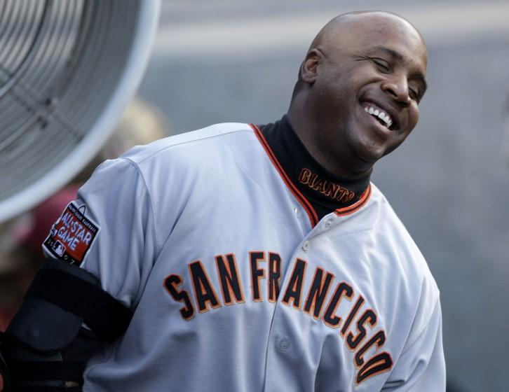 San Francisco Giants' Barry Bonds is seen during the baseball game against the Los Angeles Dodgers in Los Angeles, Wednesday, Aug. 1, 2007. (AP Photo/Kevork Djansezian)