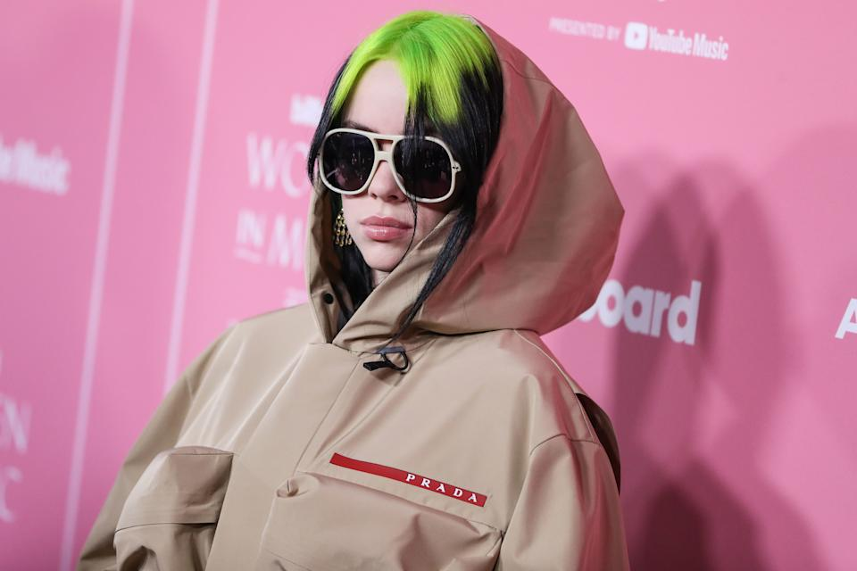 HOLLYWOOD, LOS ANGELES, CALIFORNIA, USA - DECEMBER 12: Singer Billie Eilish wearing Prada arrives at the 2019 Billboard Women In Music Presented By YouTube Music held at the Hollywood Palladium on December 12, 2019 in Hollywood, Los Angeles, California, United States. (Photo by Xavier Collin/Image Press Agency/Sipa USA)