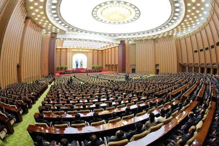 FILE PHOTO: The Fourth Session of the 13th Supreme People's Assembly (SPA) of North Korea is pictured in this undated photo released by North Korea's Korean Central News Agency (KCNA) in Pyongyang