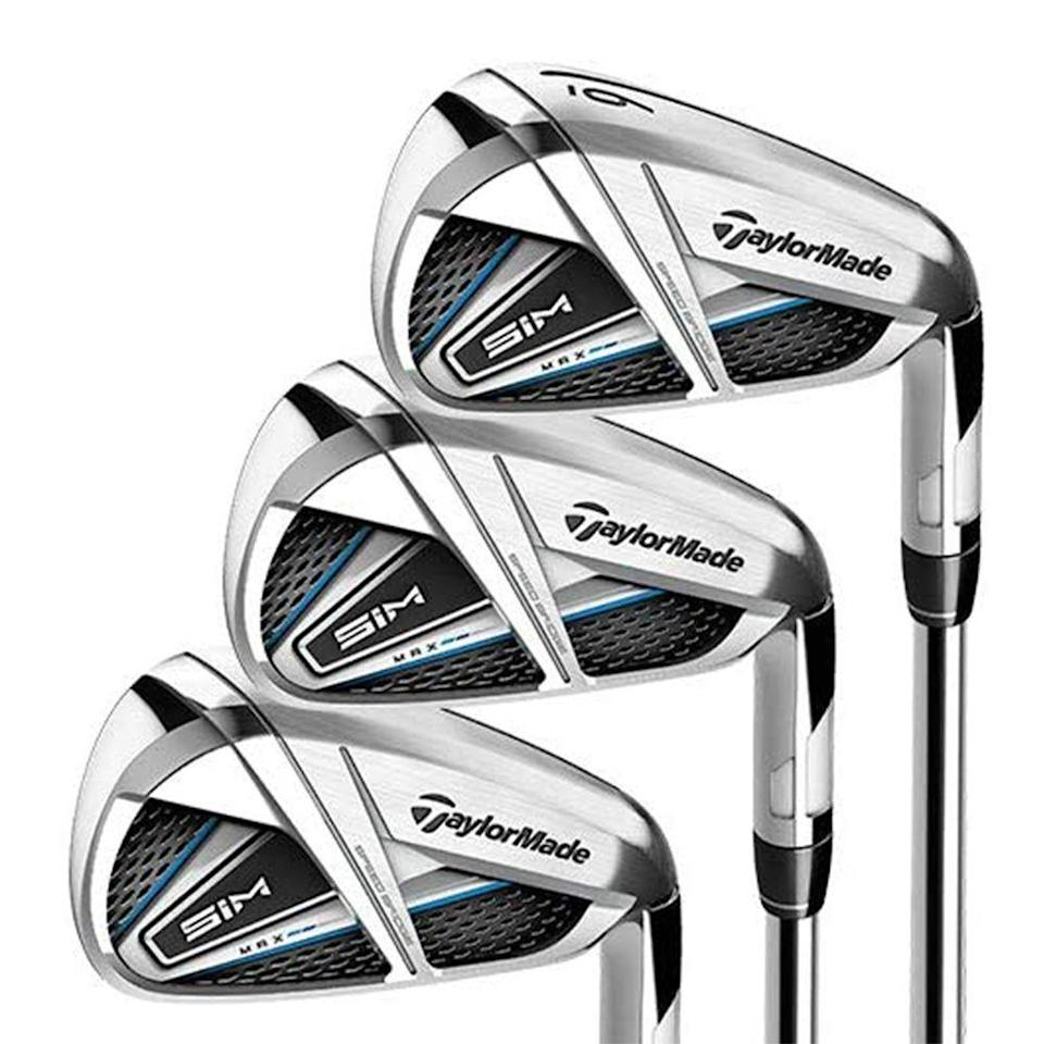 """<p><strong>TaylorMade</strong></p><p>amazon.com</p><p><strong>$799.99</strong></p><p><a href=""""https://www.amazon.com/dp/B082PPVJJR?tag=syn-yahoo-20&ascsubtag=%5Bartid%7C2089.g.1543%5Bsrc%7Cyahoo-us"""" rel=""""nofollow noopener"""" target=""""_blank"""" data-ylk=""""slk:Shop Now"""" class=""""link rapid-noclick-resp"""">Shop Now</a></p><p>TaylorMade is <a href=""""https://www.golfdigest.com/story/tiger-woods-displays-new-taylormade-woods-irons-for-2019-debut-at-torrey-pines"""" rel=""""nofollow noopener"""" target=""""_blank"""" data-ylk=""""slk:the go-to club brand"""" class=""""link rapid-noclick-resp"""">the go-to club brand</a> of 2019's Masters Winner Tiger Woods. And their new SIM Max Irons were made to make the average amateur player feel like Tiger himself. </p><p>They're said to be TaylorMade's longest, highest, and straightest-hitting iron, thanks to Speed Bridge technology that localizes face flexibility and delivers more energy from the clubhead to the ball with every swing, while the ECHO damping system minimizes vibrations on less-than-perfect shots. </p><p>For mid- and high-handicappers who want maximum forgiveness and distance (i.e., those with """"developing"""" skills), the SIM MAX irons are the best bang for your buck. These irons make TaylorMade's highly respected brand and quality somewhat reachable for golfers of all abilities.</p>"""