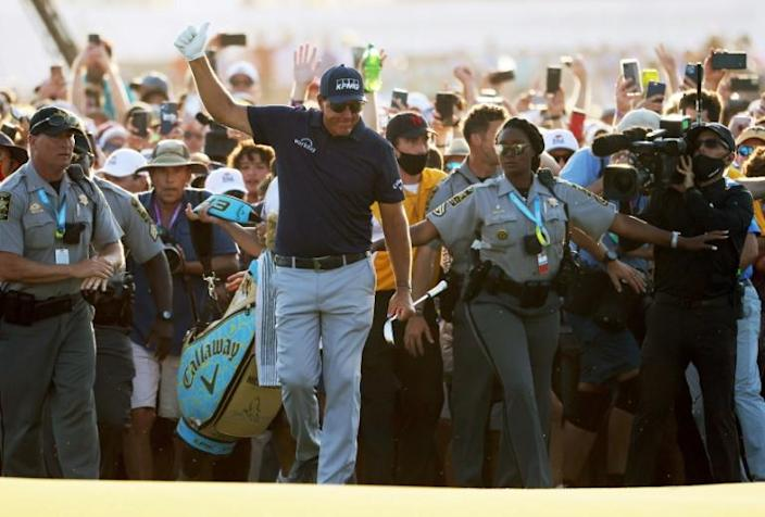 Phil Mickelson, chasing a career Grand Slam when the US Open begins Thursday at Torrey Pines, emerged from a throng of fans at the final green on his way to winning the PGA Championship last month at Kiawah Island and becoming the oldest major winner at age 50