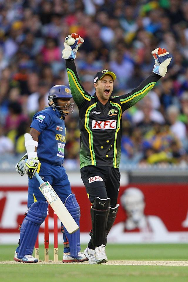MELBOURNE, AUSTRALIA - JANUARY 28:  Matthew Wade of Australia appeals unsuccessfully during game two of the Twenty20 International series between Australia and Sri Lanka at Melbourne Cricket Ground on January 28, 2013 in Melbourne, Australia.  (Photo by Robert Prezioso/Getty Images)
