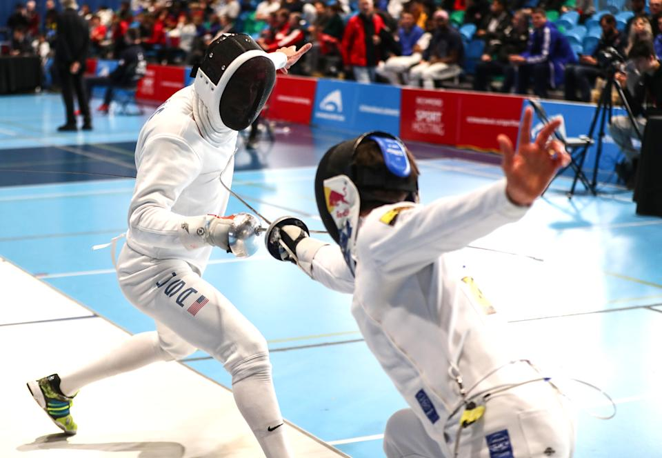 RICHMOND, CANADA - FEBRUARY 8: Alen Hadzic of the USA (left) fences Max Heinzer of Switzerland during the individual finals at the Peter Bakonyi Men's Epee World Cup on February 8 2020 at the Richmond Olympic Oval in Richmond, Canada. (Photo by Devin Manky/Getty Images)
