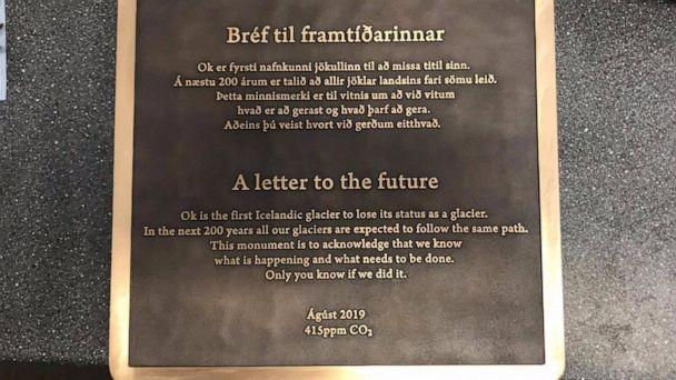PHOTO: A plaque commemorates the Okjokull Glacier, the first to lose its glacier status, which will be unveiled at a memorial service in Iceland on Aug. 18. (Rice University)