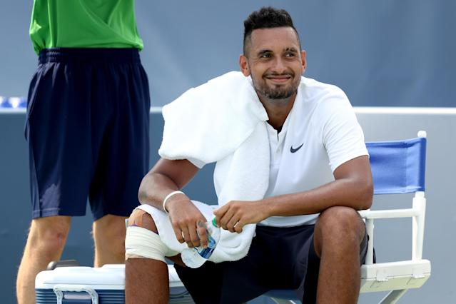 Australian Nick Kyrgios forgot to bring his tennis shoes down to the court with him on Tuesday for his Round of 64 match at the Cincinnati Masters. (Getty Images)