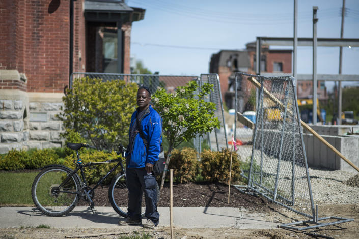 Detroit native Kelvin Lundy, 60, now of Grosse Pointe, Mich., at a residential construction site in Brush Park, just miles away from downtown Detroit. (Photo: Brittany Greeson for Yahoo News)